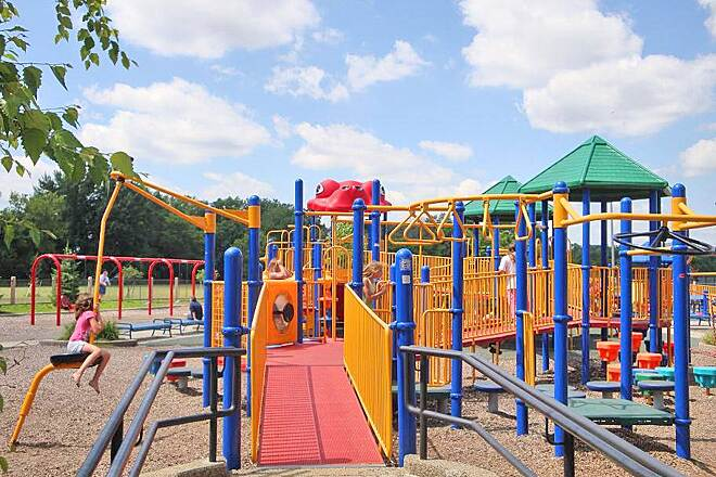Battle Creek Linear Park CO Brown Stadium playground The linear trail goes through CO Brown stadium. Great area for break or resting. Also offers several canoe launch areas, drinking fountain and bathrooms