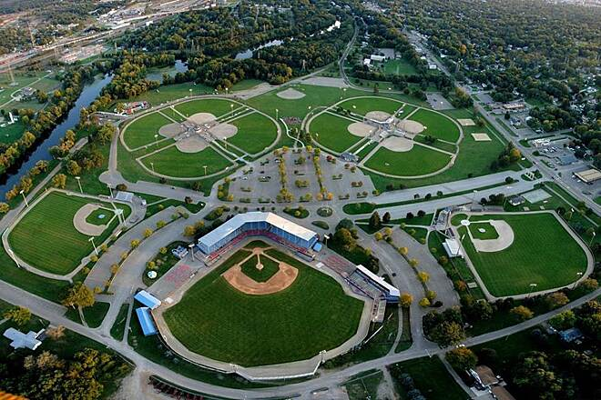 Battle Creek Linear Park CO Brown Stadium As you can see the far left along the Battle Creek river is the new linear trails they circle through the stadium and continue up to Kellogg Community College.