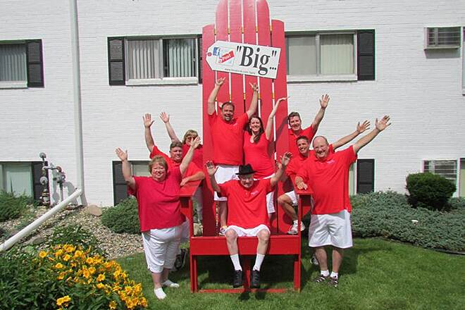 Battle Creek Linear Park BIG RED CHAIR Here is a fun picture taking area. Williamsburg Apartments runs along Wagner Drive linear park trail. The address is 775 Wagner Drive. They have this HUGE red chair. Makes any adult look like a child.