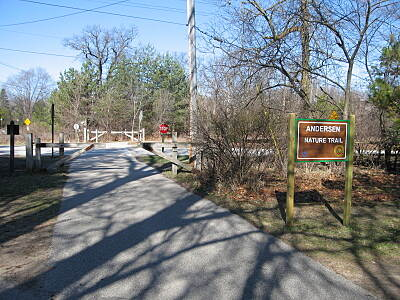 Bay County Riverwalk/Railtrail System Andersen Nature Trail Looking north from the south end of the trail, near the Bay City State Park Visitor's Centre