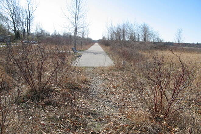 Bay County Riverwalk/Railtrail System Andersen Nature Trail North trailhead, looking south.  All photos were taken April 4, 2010