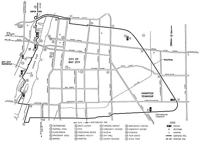 Bay County Riverwalk/Railtrail System Map of Bay City Railtrail/Riverwalk Loop