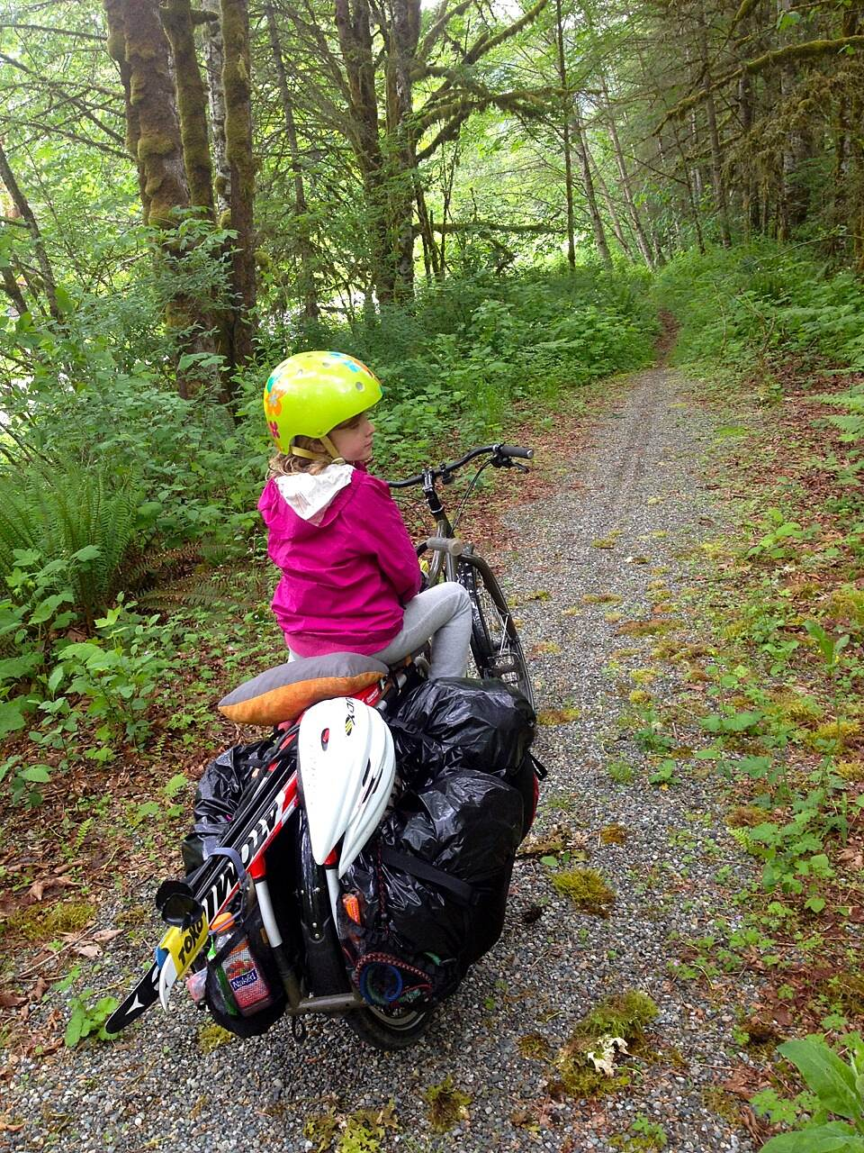 Bay to Baker Trail (Maple Falls to Glacier) Car Free Ski to Sea (with kid) After crossing Hwy 542 near Boulder Creek, it devolves into untrimmed singletrack. (May 2014)