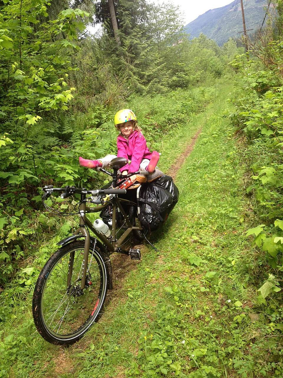 Bay to Baker Trail (Maple Falls to Glacier) Car Free Ski to Sea (with kid) After the washout at Warnick Bluff (which cuts off a mile of excellent rails-to-trails near the river), you can rejoin the trail for this beautiful double-track section. (May 2014)