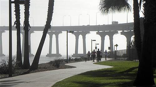 Bayshore Bikeway   Trail near the base of the Bay Bridge on the Coronado side on a foggy morning