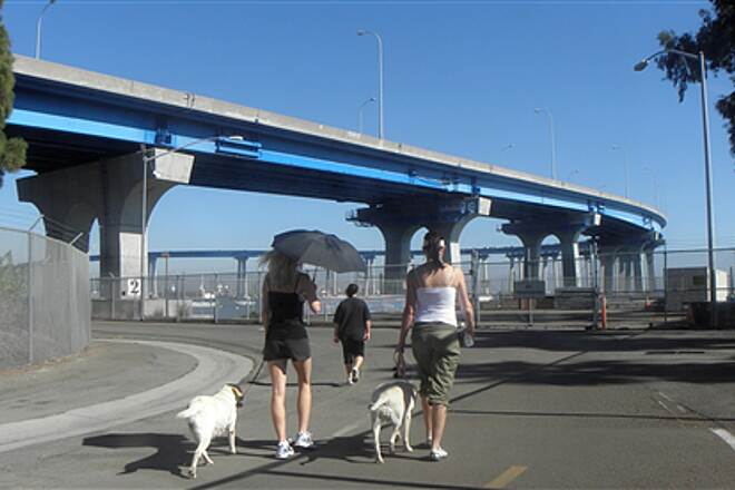 Bayshore Bikeway   San Diego - Coronado Bridge from the trail in Coronado