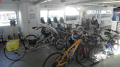 Bayshore Bikeway   Bikes and Segways being carried on the Coronado Ferry