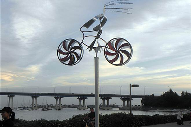 Bayshore Bikeway   The wind makes the sculpture turn and the wheels spin at Tidelands Park in Coronado