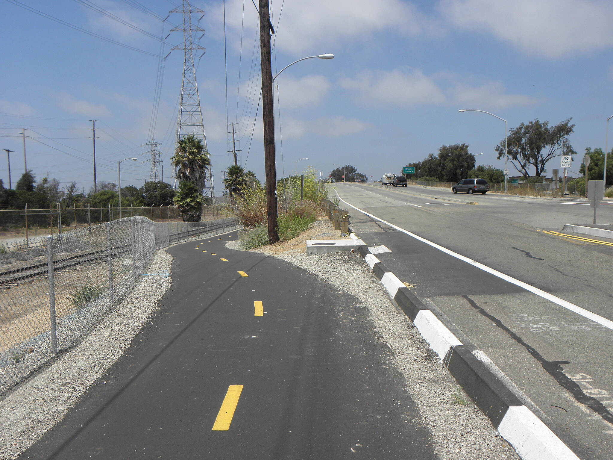 Bayshore Bikeway New trail section in the Southeast area. This gets the Bayshore Bikeway off Bay Blvd. in Chula Vista and avoids a bad intersection for northbound bikers at L Street. The section goes 1.8 mi. from Palomar St. to H Street.