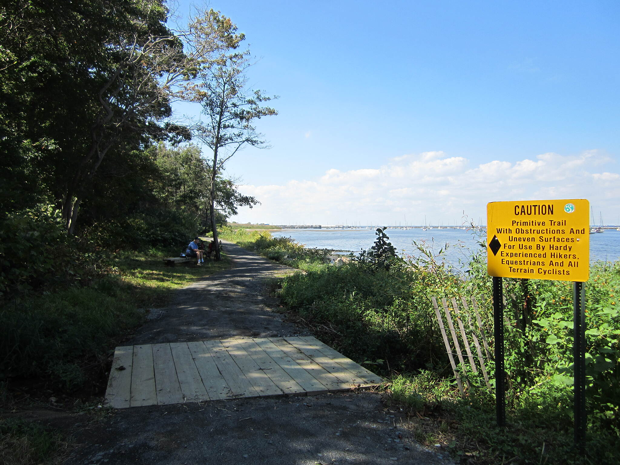 Bayshore Trail (Henry Hudson Trail) Sign The bench mid-way through the trail is a great place to take a break and have a snack