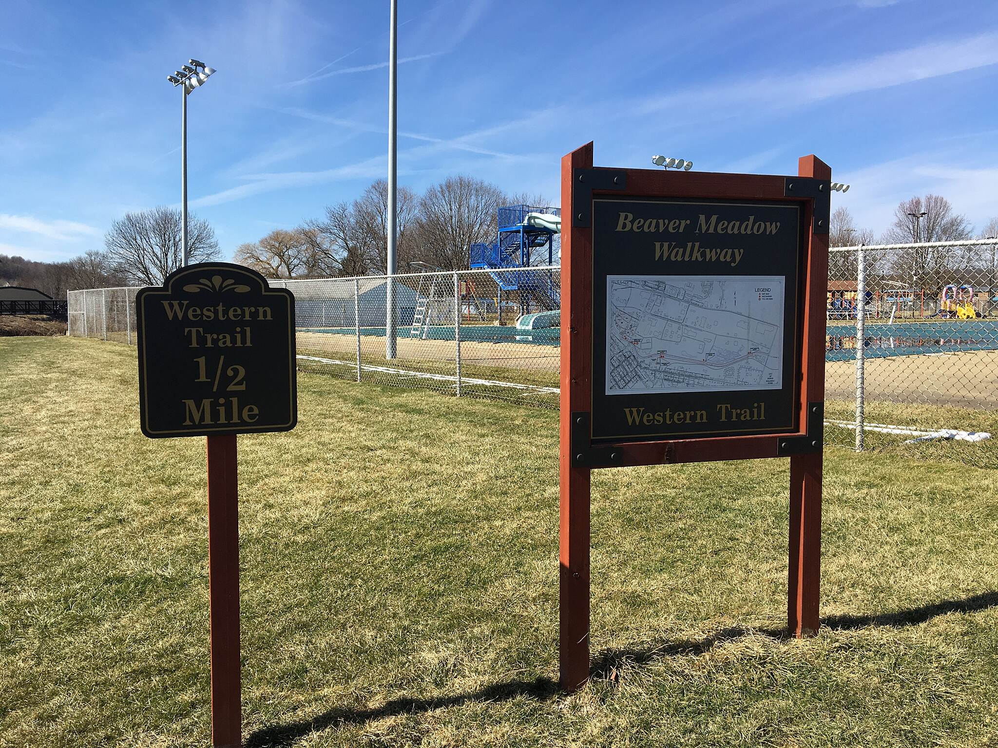 Beaver Meadow Trail Mile marker for Western Trail Trail ends/begins at City Park