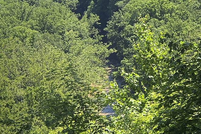 Bedford Reservation All Purpose Trail A View of Tinkers Creek From the Top of the Gorge Walls Here is a view of Tinkers Creek as it flows through the National Natural Landmark gorge it has carved out over thousands of years.  June 2019.
