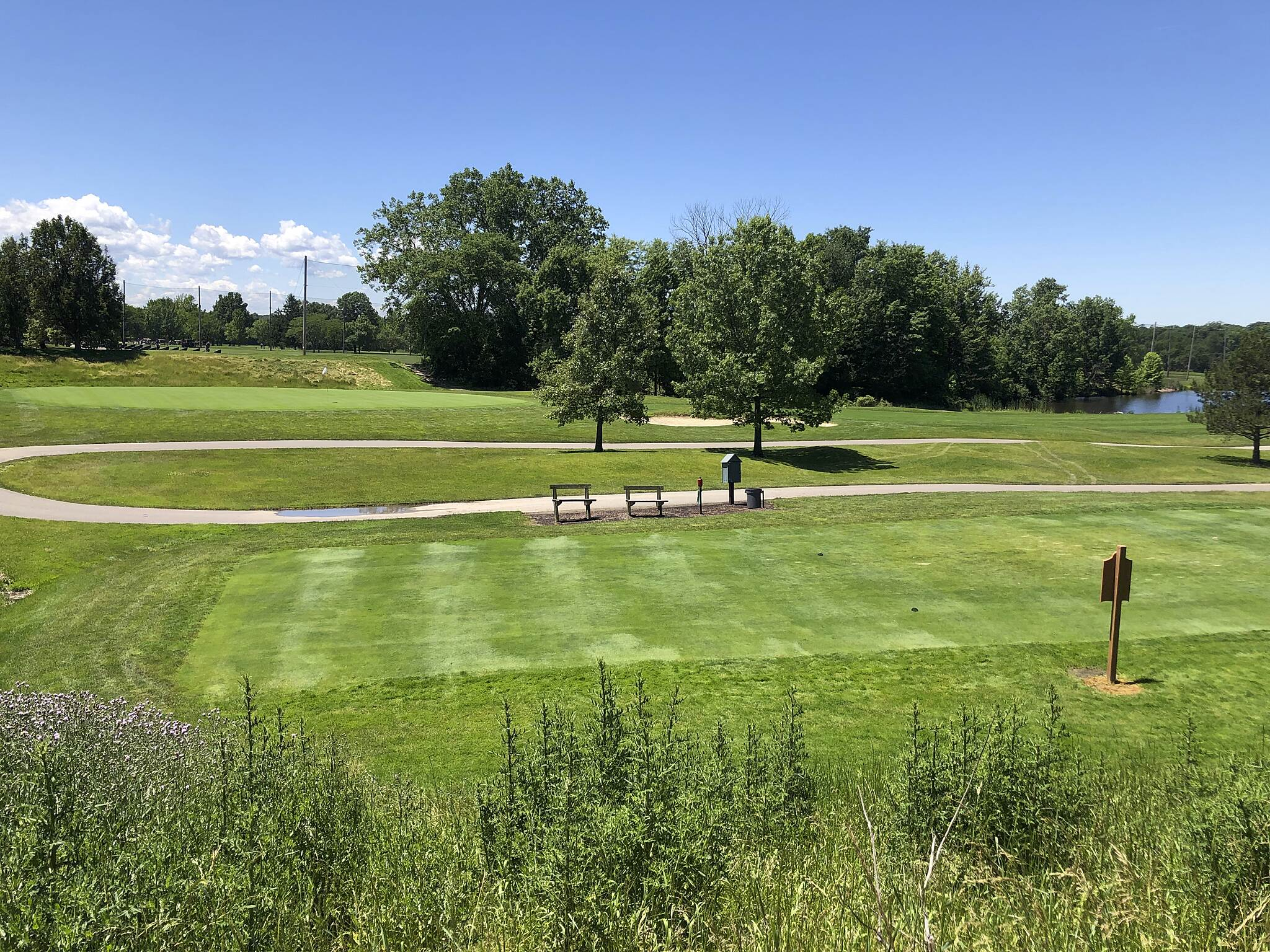 Bedford Reservation All Purpose Trail Tee It Up This is the 3rd Hole Green and the 4th Hole Tee Box of the Cleveland Metroparks Shawnee Hills Golf Course in the Bedford Reservation.  June 2019.