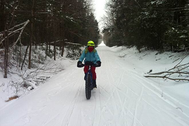 Beebe Spur Rail Trail Fat biking on the trail The trail in winter. Photo by Beth Barnes.