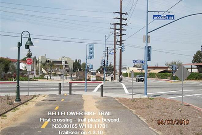 Bellflower Bike Trail BELLFLOWER BIKE TRAIL First street crossing - an easy one.
