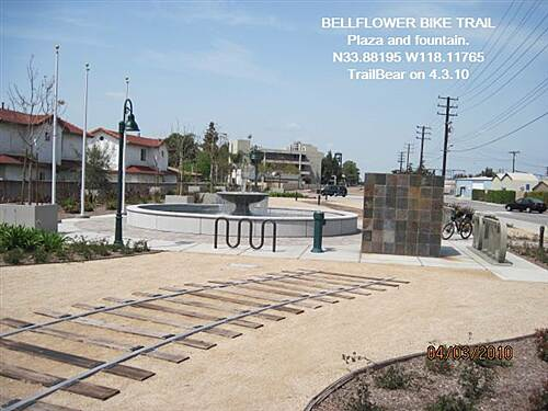 Bellflower Bike Trail BELLFLOWER BIKE TRAIL Trail plaza, fountain and water fountain.