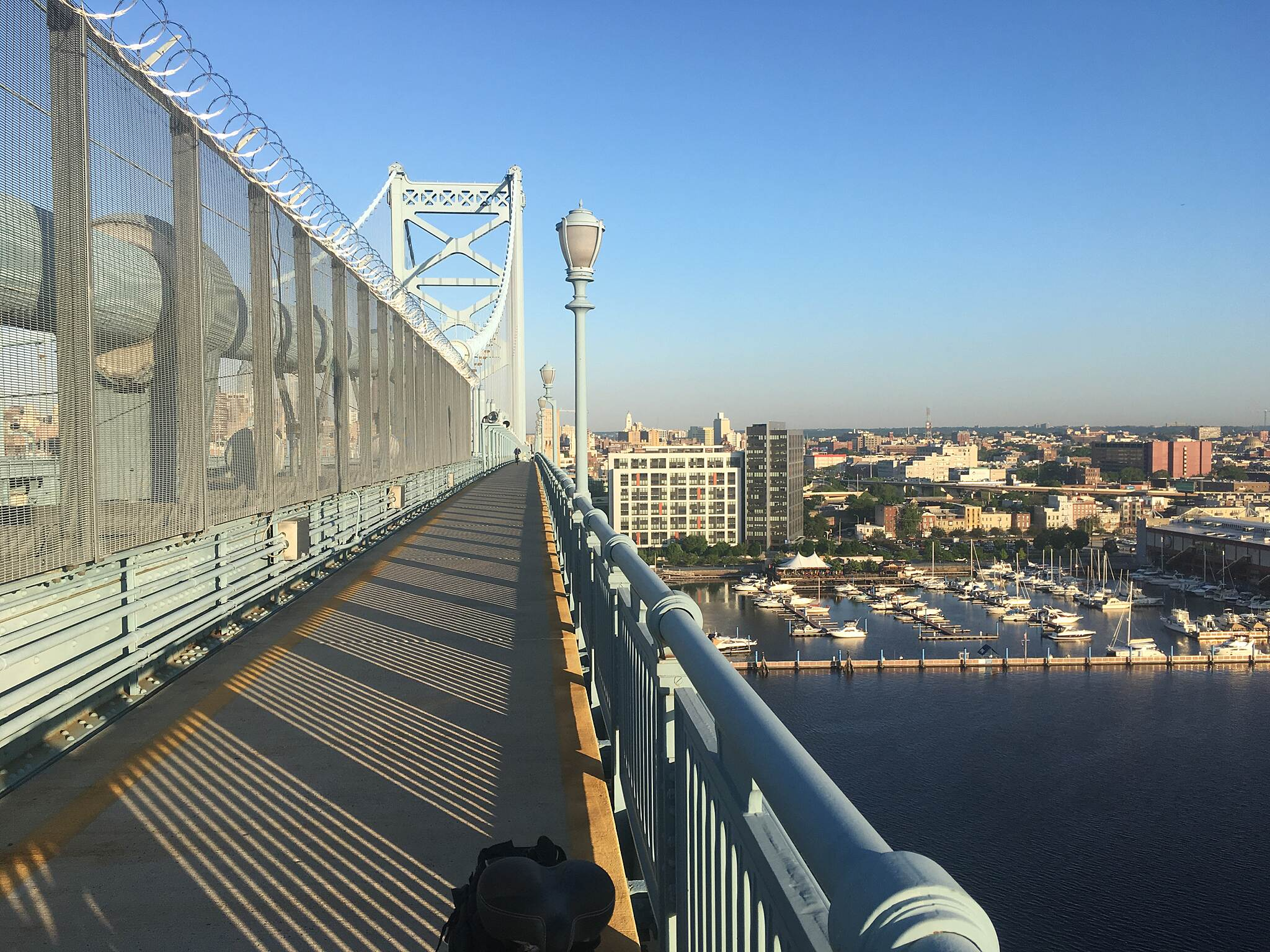 Ben Franklin Bridge Benjamin Franklin Bridge - North walkway 2018 Looking east into Philadelphia.