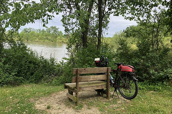 Berlin Lake Trail A Bench with a View There are quite a few benches such as this one along the trail.  Each are great for viewing boats, waterfowl and fishermen on the lake.  May 2019.
