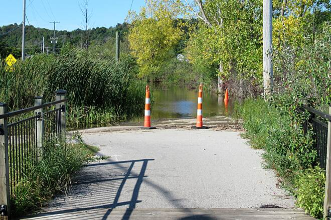 Betsie Valley Trail Betsie Lake flooding-Sept 2019 Betsie lake has overflowed onto the bike trail, Sept 2019.