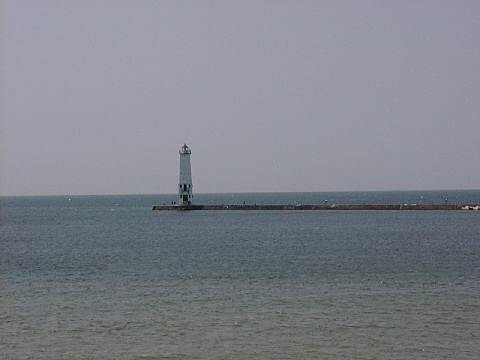 Betsie Valley Trail Frankfort A lighthouse on Lake Michigan.