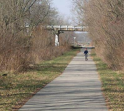 Big 4 Rail Trail (Zionsville) Safe Haven for Cyclists A young cyclist heads south from the Bloor Lane bridge.