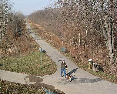 Big 4 Rail Trail (Zionsville) Connection to Outskirts The trail continues north below grade to a tunnel under Zionsville Road and to the outer neighborhoods.