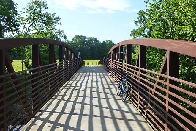Big Cove Creek Greenway bike on bidge