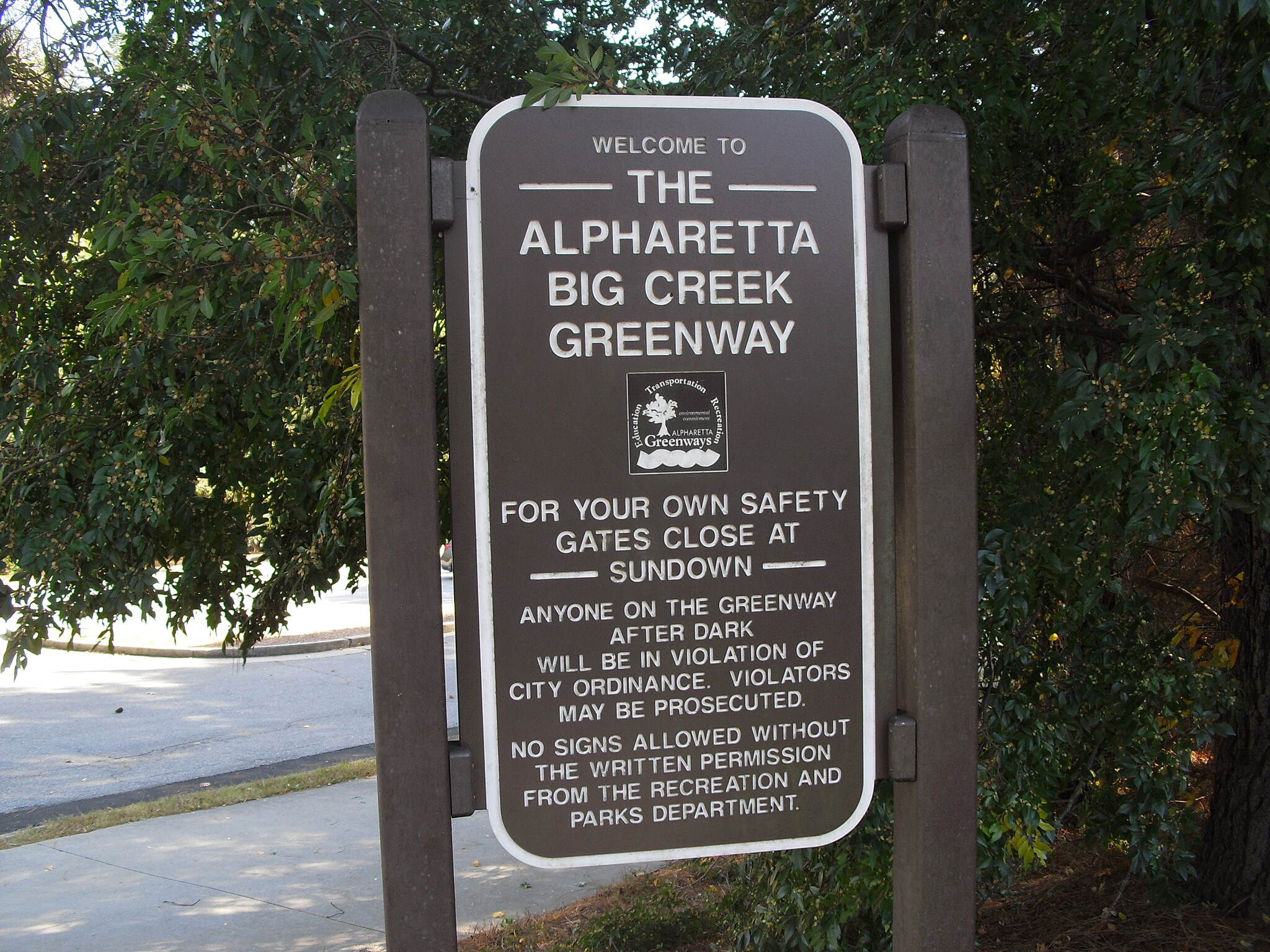 Big Creek Greenway Big Creek Greenway Parking area sign in Alpharetta