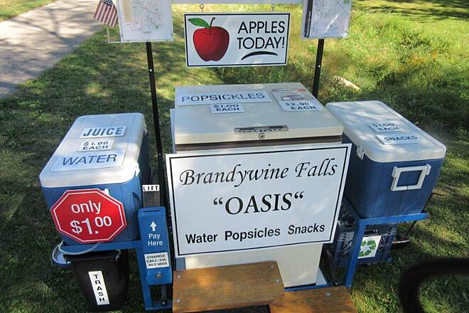 Bike and Hike Trail Brandywine Falls Oasis Refreshments for sale.  Now why haven't more people that live along the trails thought of this?! 