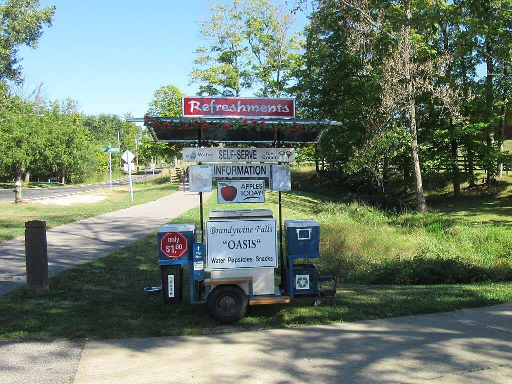 Bike and Hike Trail Brandywine Falls Oasis  August 2015. Located near Brandywine Falls, this self serve  rest center was a hit on a hot summer day. For sale were cold drinks, & snacks. Free bike air.  Other cyclists where there too and it was nice to talk to them.  An awesome idea, thanks!