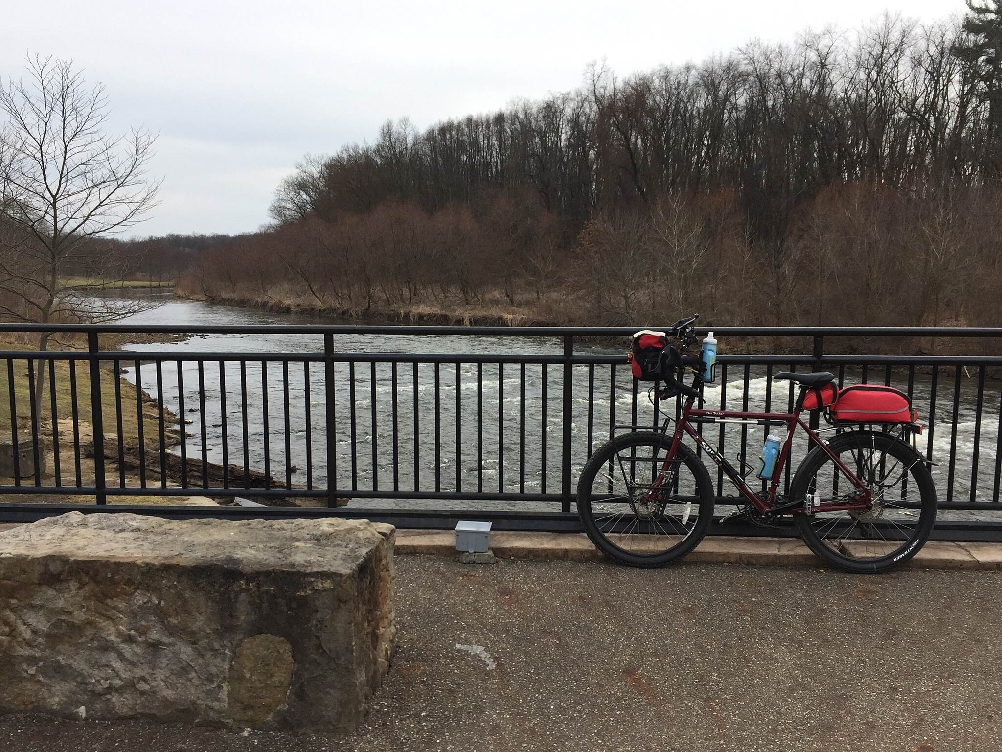 Bike and Hike Trail Resting along the Cuyahoga River A view of the Cuyahoga River in Monroe Falls Metro Park.  Feb. 2017