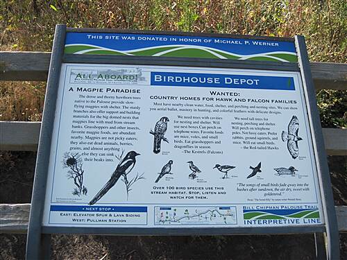 Bill Chipman Palouse Trail BILL CHIPMAN TRAIL First wayside out of Pullman is Birdhouse