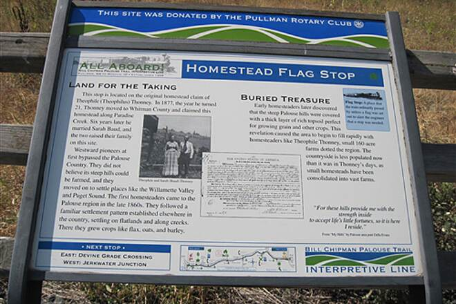 Bill Chipman Palouse Trail BILL CHIPMAN TRAIL The Homestead Flagstop sign