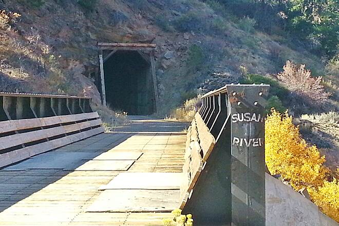 Bizz Johnson National Recreation Trail Bridge, and tunnel entrance.