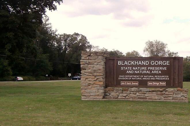 Blackhand Gorge Trail Sign Sign at the entrance.  There is parking and a picnic area. Sept 2014