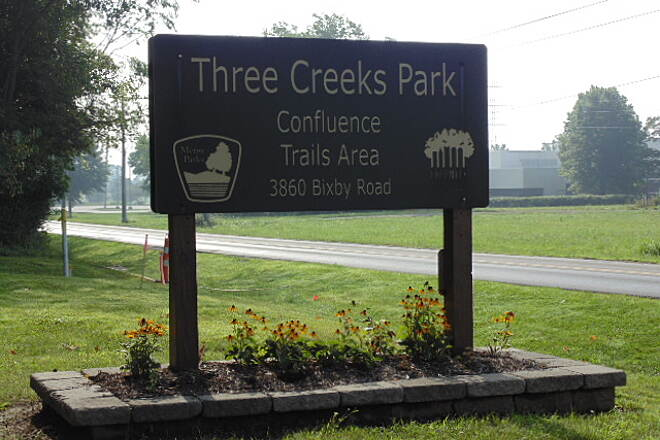 Blacklick Creek Greenway Trail Three Creeks Park entrance  Upon entering this park, you know you are in for an exciting ride of beauty. Several trails share this park and all will supply you with a great ride.
