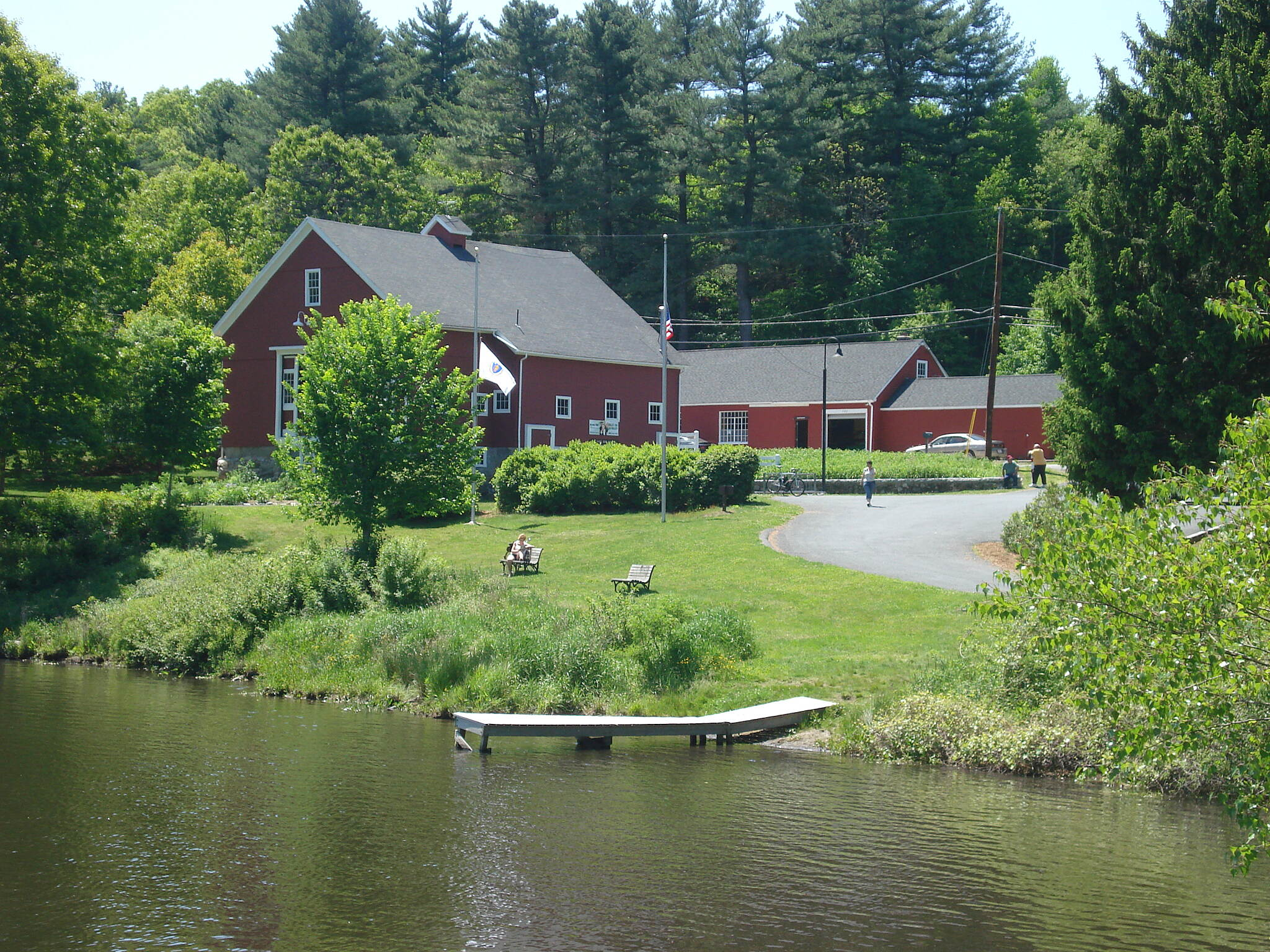 Blackstone River and Canal Heritage State Park Trail Riverbend Farm visitors center viewed from the towpath