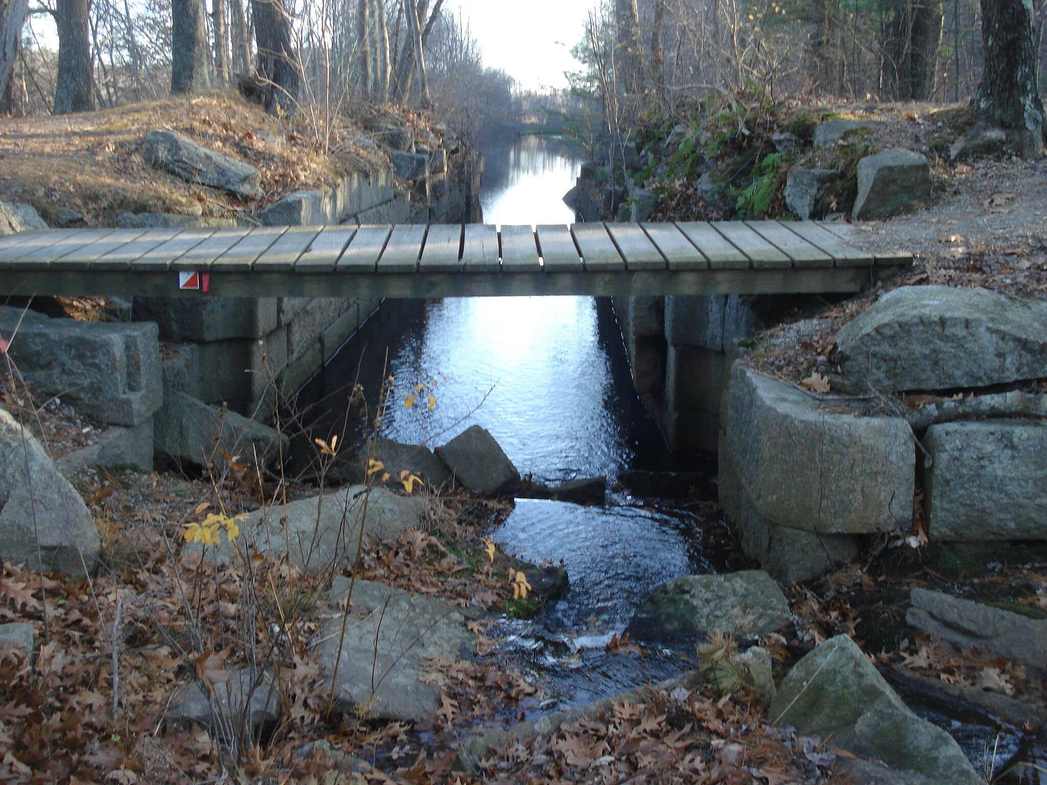 Blackstone River and Canal Heritage State Park Trail The trail bridge over Goat Hill Lock #25 looking south thru the lock to Rice City Pond 11-18-11