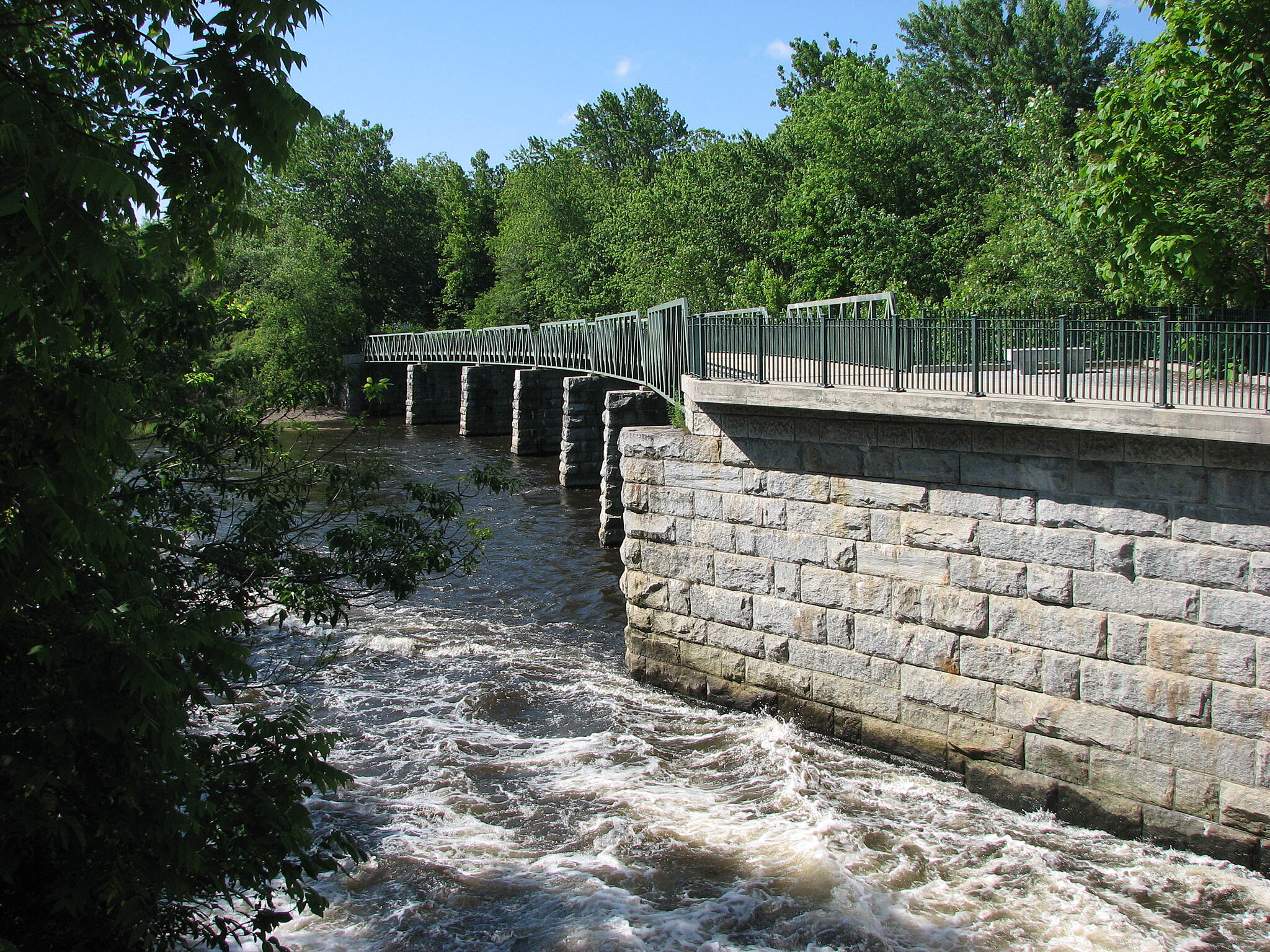 Blackstone River Greenway (RI) Dam Bridge  Beautiful Stone Bridge over dam in Blackstone