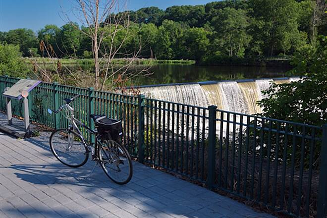 Blackstone River Greenway (RI) Bike with Lincoln Waterfall background