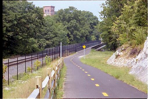 Blackstone River Greenway Working Rail Road Line The RT116-to-Manville portion of the trail parallels a working rail line.
