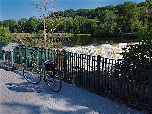 Blackstone River Greenway Bike with Lincoln Waterfall background