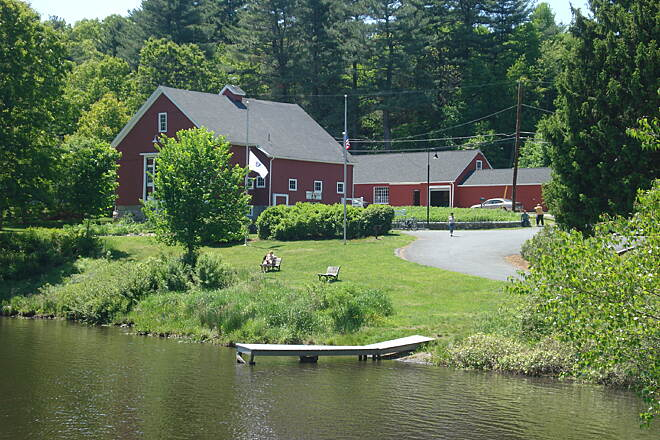 Blackstone River Greenway Riverbend Farm visitors center viewed from the towpath