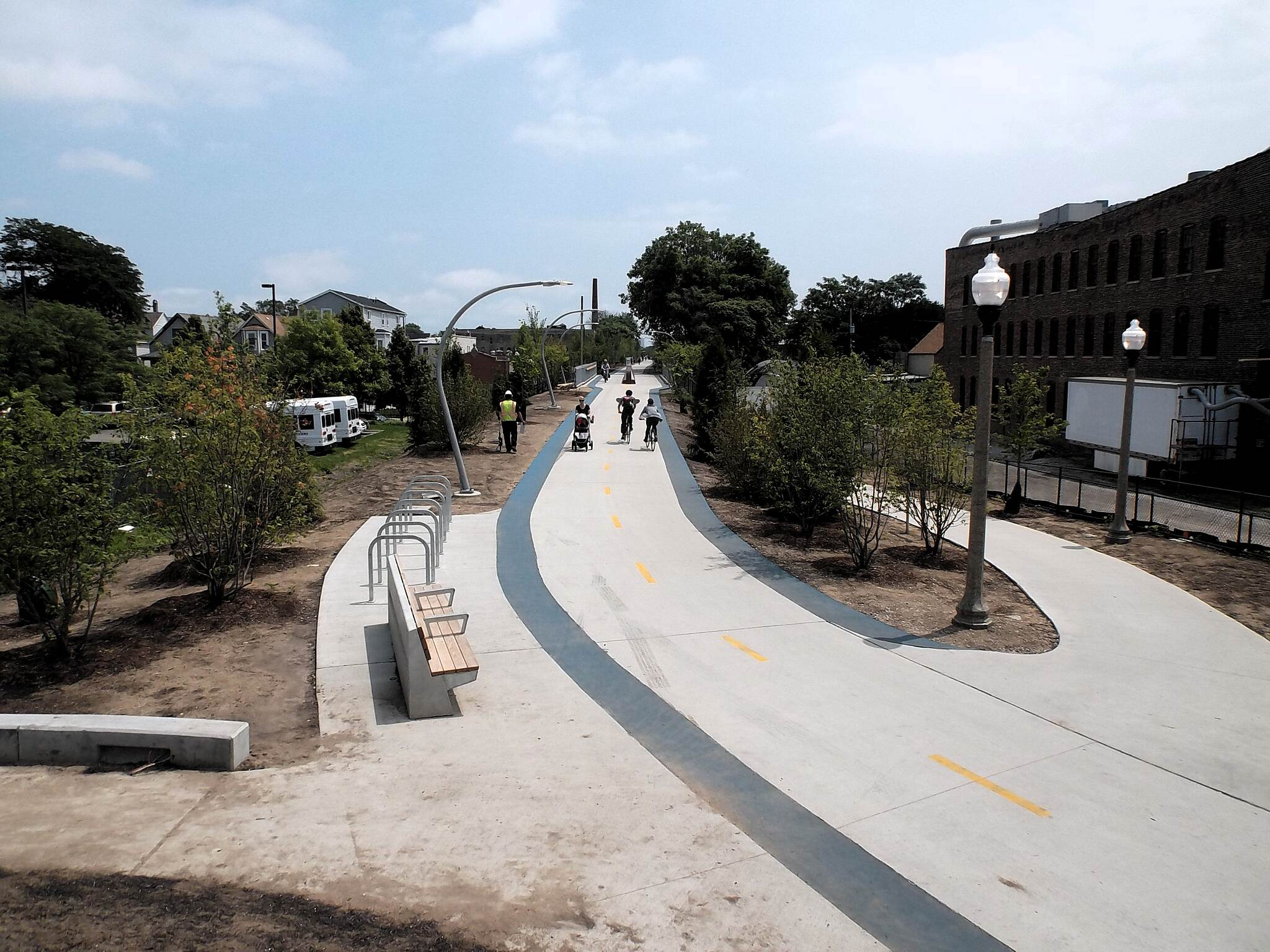 Bloomingdale Trail (The 606) A View from the West Here from the top of the observatory at the western trailhead on Ridgeway Avenue. The Lawndale Access Ramp is on the right. 