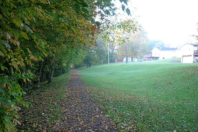 Bloomington Rail Trail Southern section -- Passing by houses headed south Southern section -- Passing by houses headed south