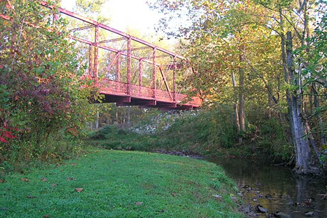 Bloomington Rail Trail Southern section -- The truss bridge from below Southern section -- The truss bridge from below