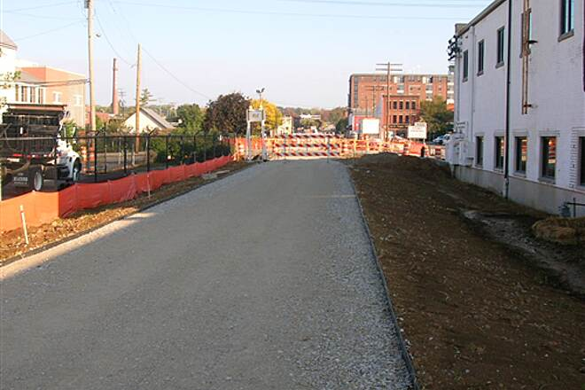 Bloomington Rail Trail Downtown section -- under construction in 2008.  View towards downtown from south. Downtown section -- under construction in 2008.  View towards downtown from south.