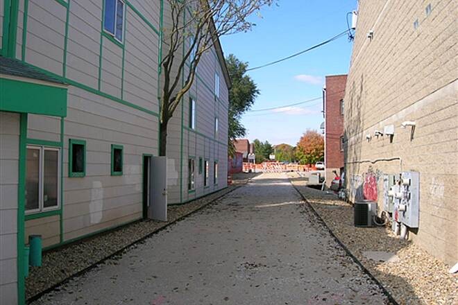 Bloomington Rail Trail Downtown section -- under construction in 2008.  A view down a narrow section downtown. Downtown section -- under construction in 2008.  A view down a narrow section downtown.