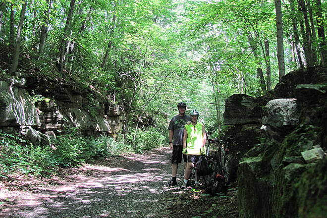 Bloomington Rail Trail Rock formations on the trail Very nice ride, we stopped a few times along the way to get some photos. It was a great day for a ride!