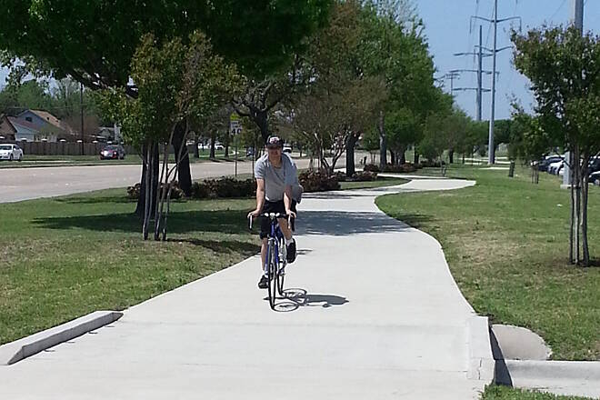 Bluebonnet Trail BBT at Clark Bicyclist Photo provided by the City of Plano.